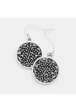 Abstract Cut Out Round Burnished Metal Earrings