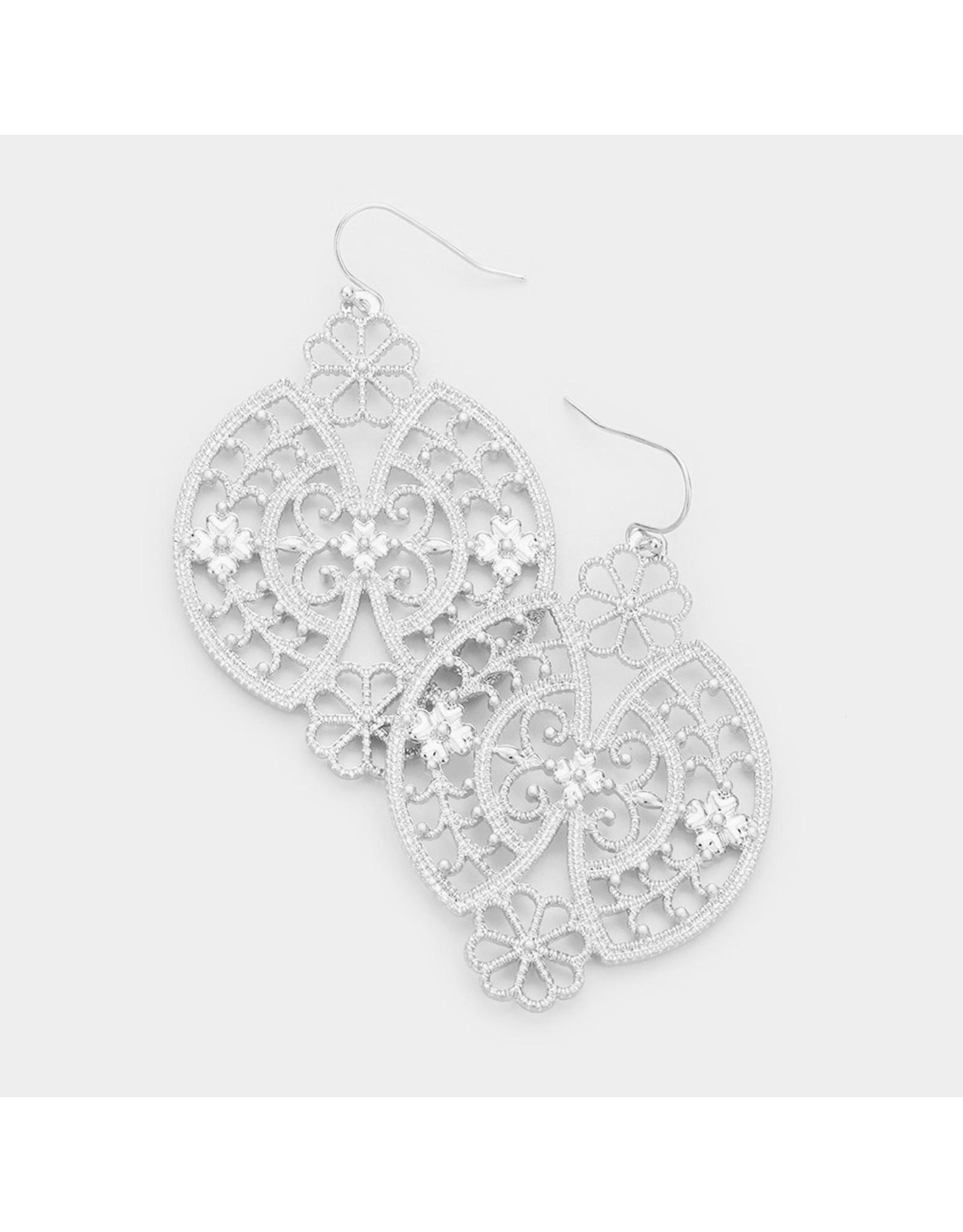 Antique Pattern Metal Dangle Earrings