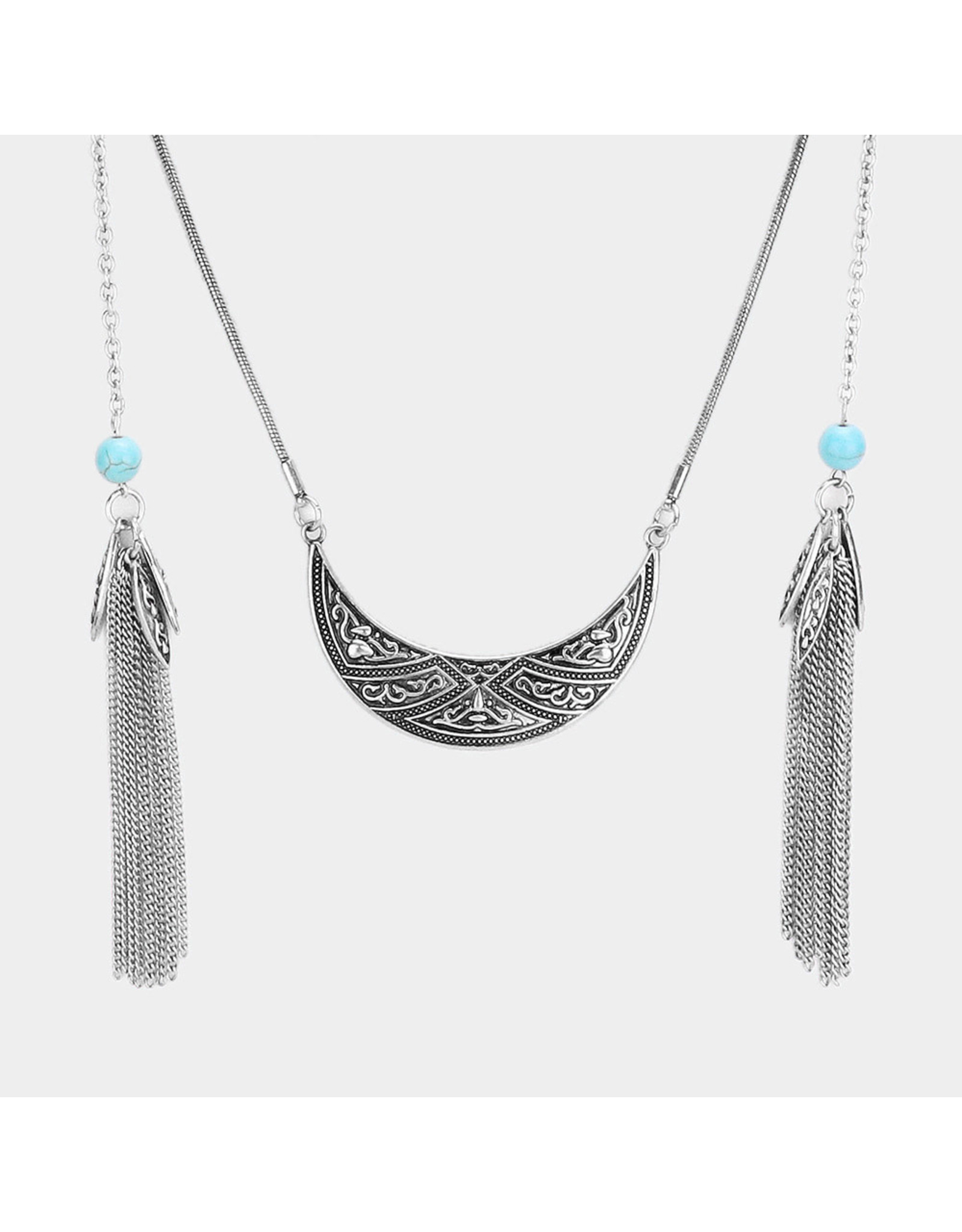 Chain Tassel Burnished Metal Necklace