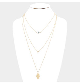 Triple Hamsa Long Necklace