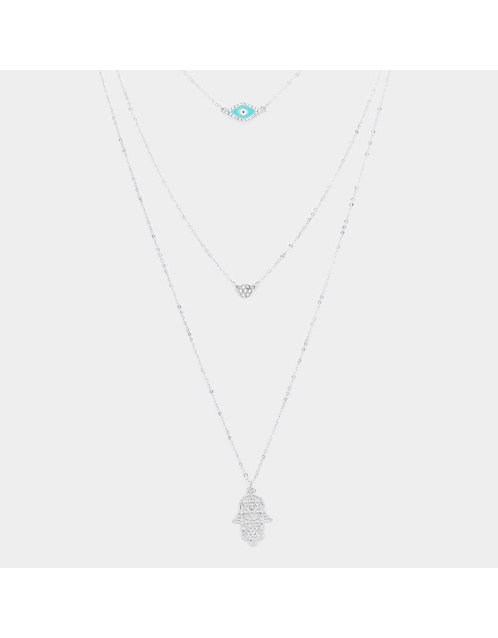 Triple Hamsa Long Necklace