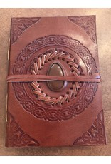 Hand Tooled Leather Journal w/ Gemstone