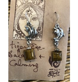 Tiger Eye Dolphin Earrings