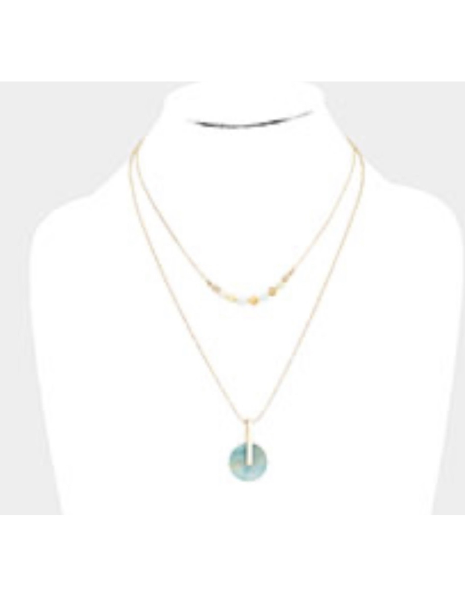 Genuine Gemstone Gold Double Necklace