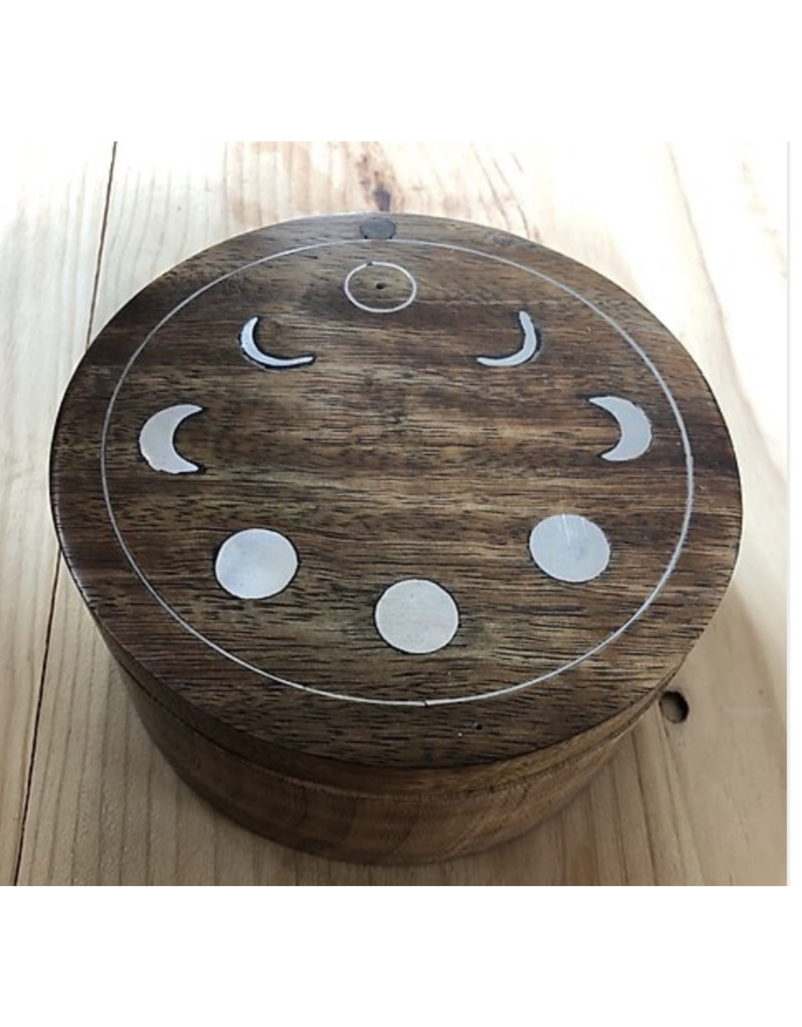 Moon Phases Wooden Swivel Box