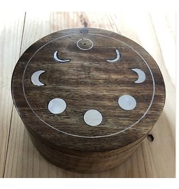 Moon Phases Wooden Swivel Box