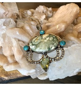 Sterling Silver Jasper, Turquoise & Topaz Necklace