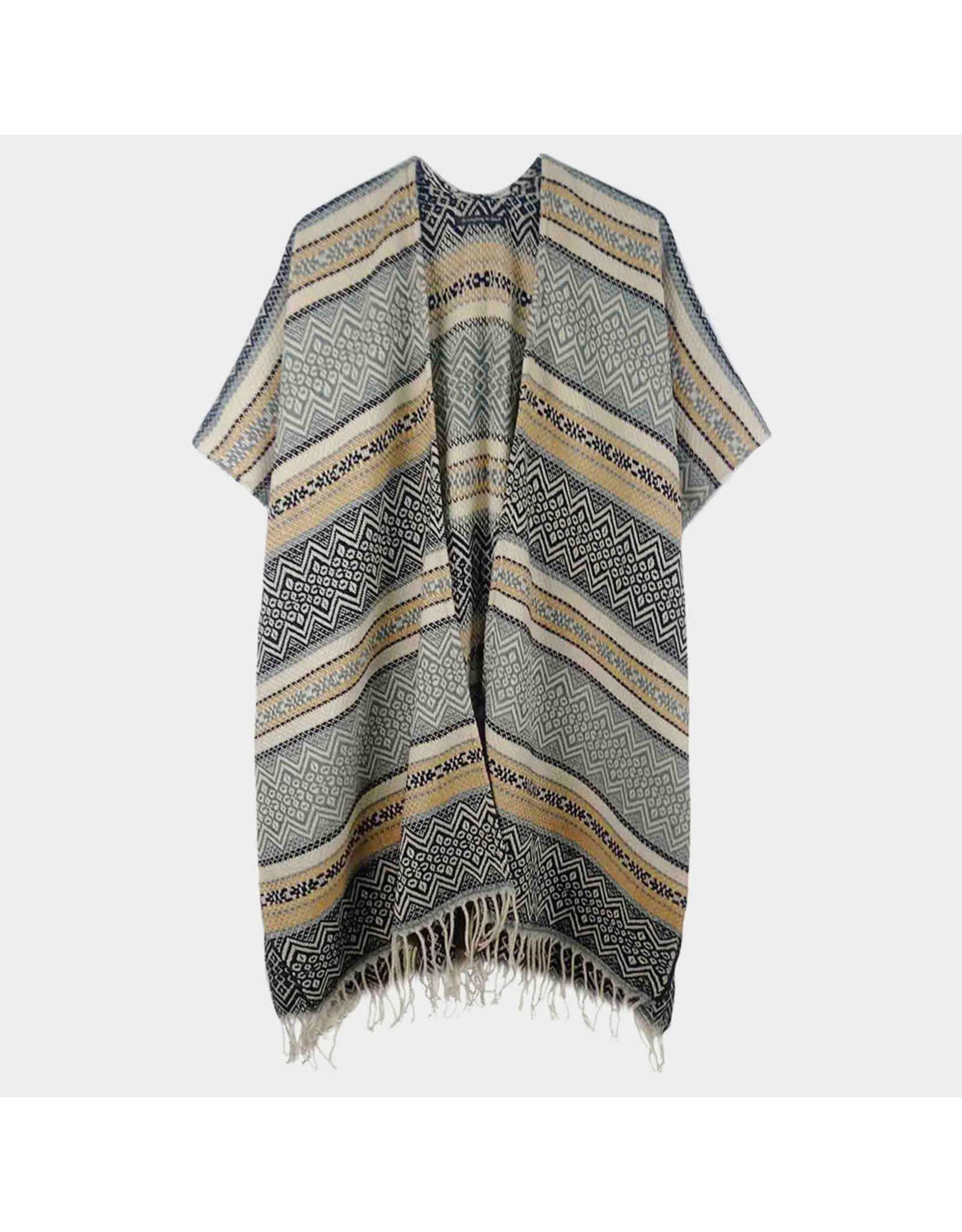 Gray & Ivory Knit Kimono