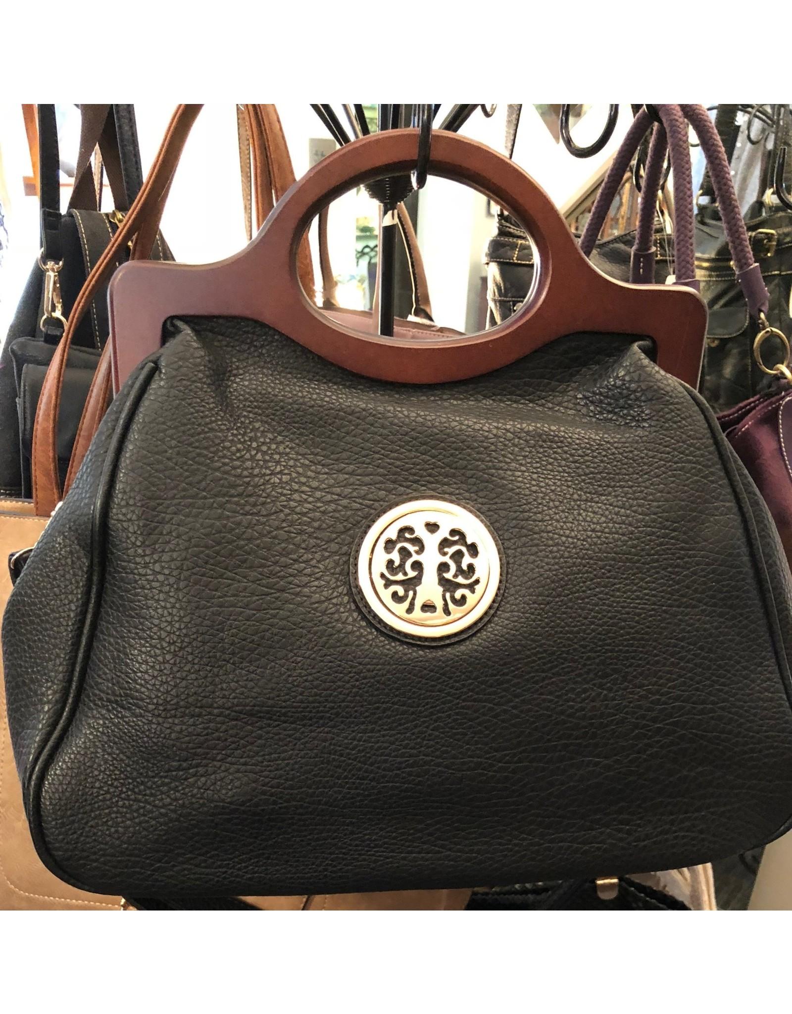 Faux Black Leather Wood Handle Bag