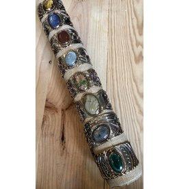 Gemstone Metal Cuff Bracelet