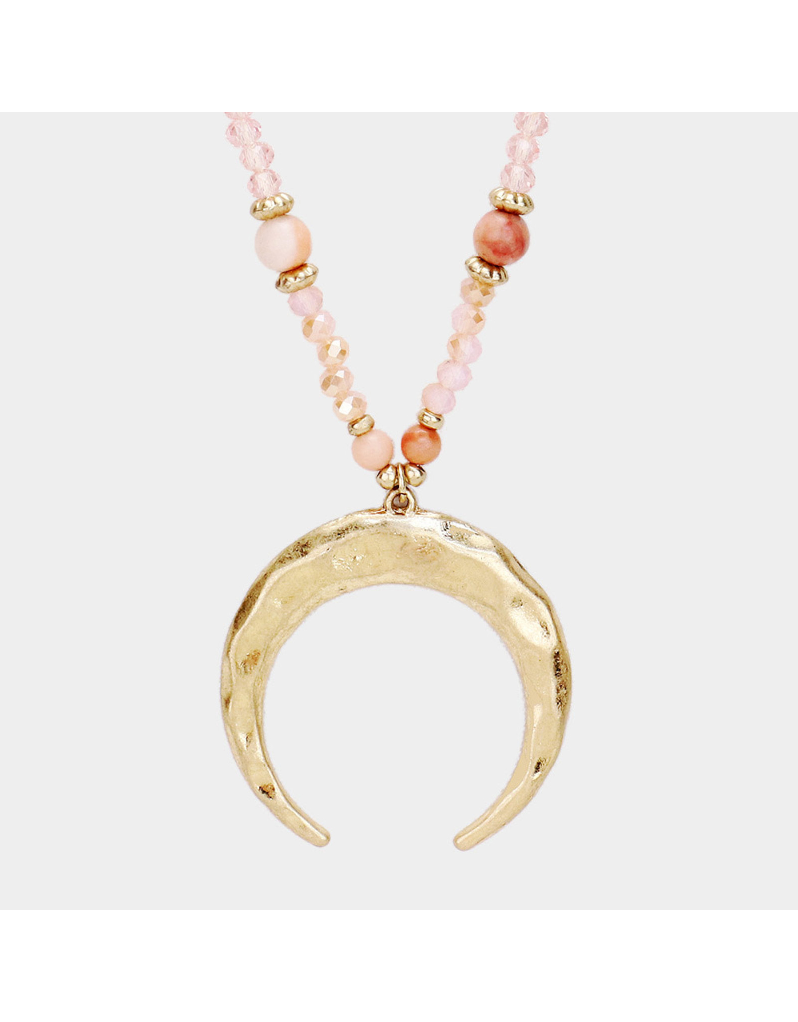 Hammered Crescent Long Necklace
