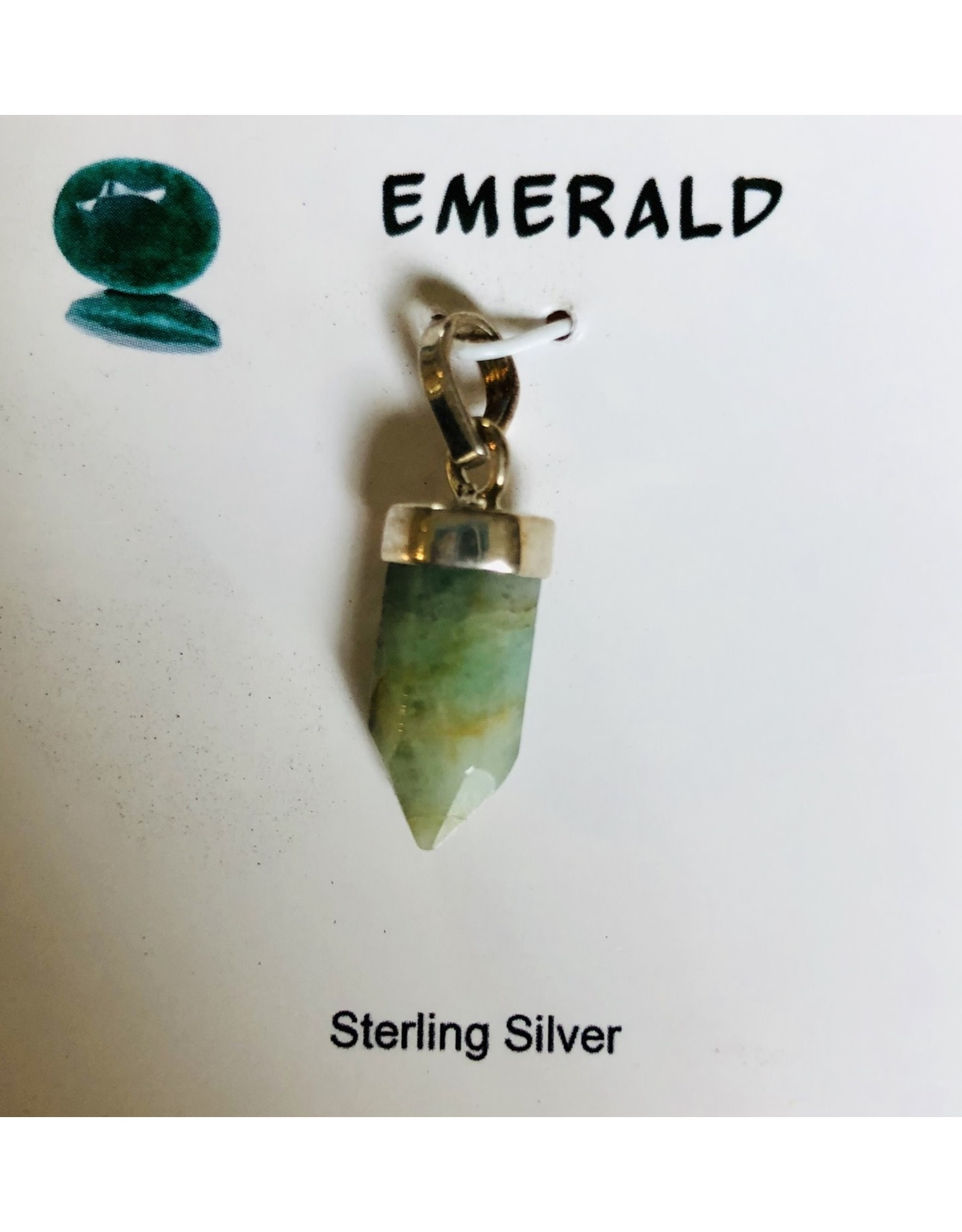 Small Pointed Sterling Silver Gemstone Pendants