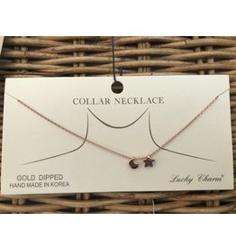 Rose Gold Star/Moon Collar Necklace
