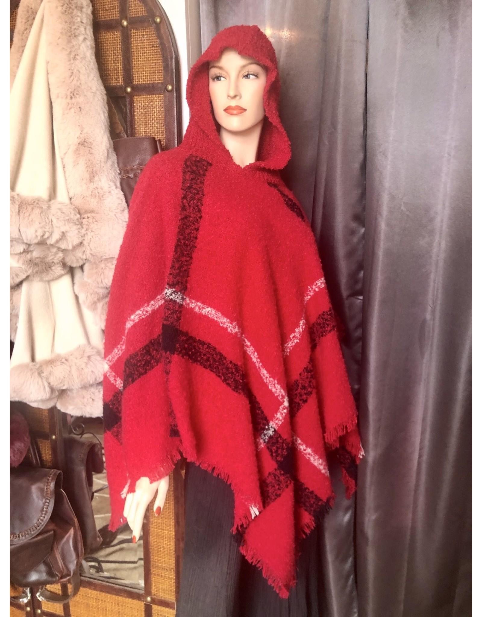 Knit Plaid Poncho