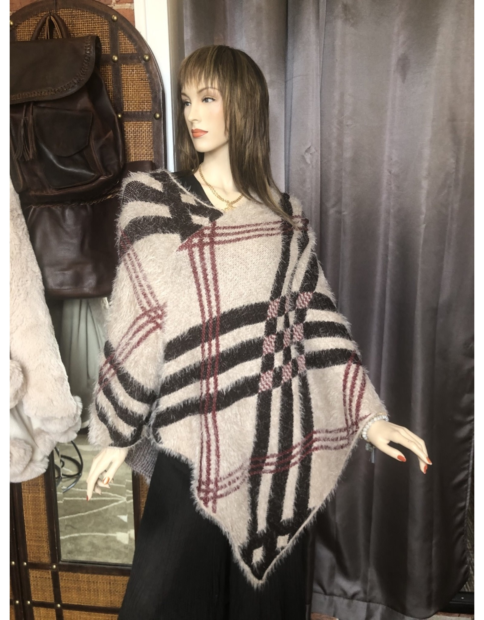 Knit Plaid Poncho