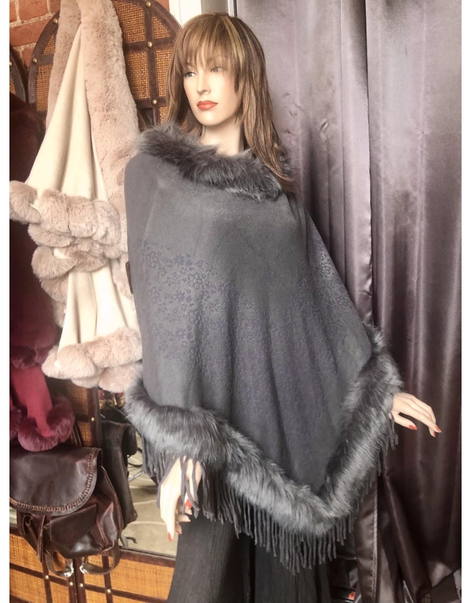 Fur Trimmed Poncho