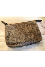 Hand-Tooled Leather Cosmetic Bag
