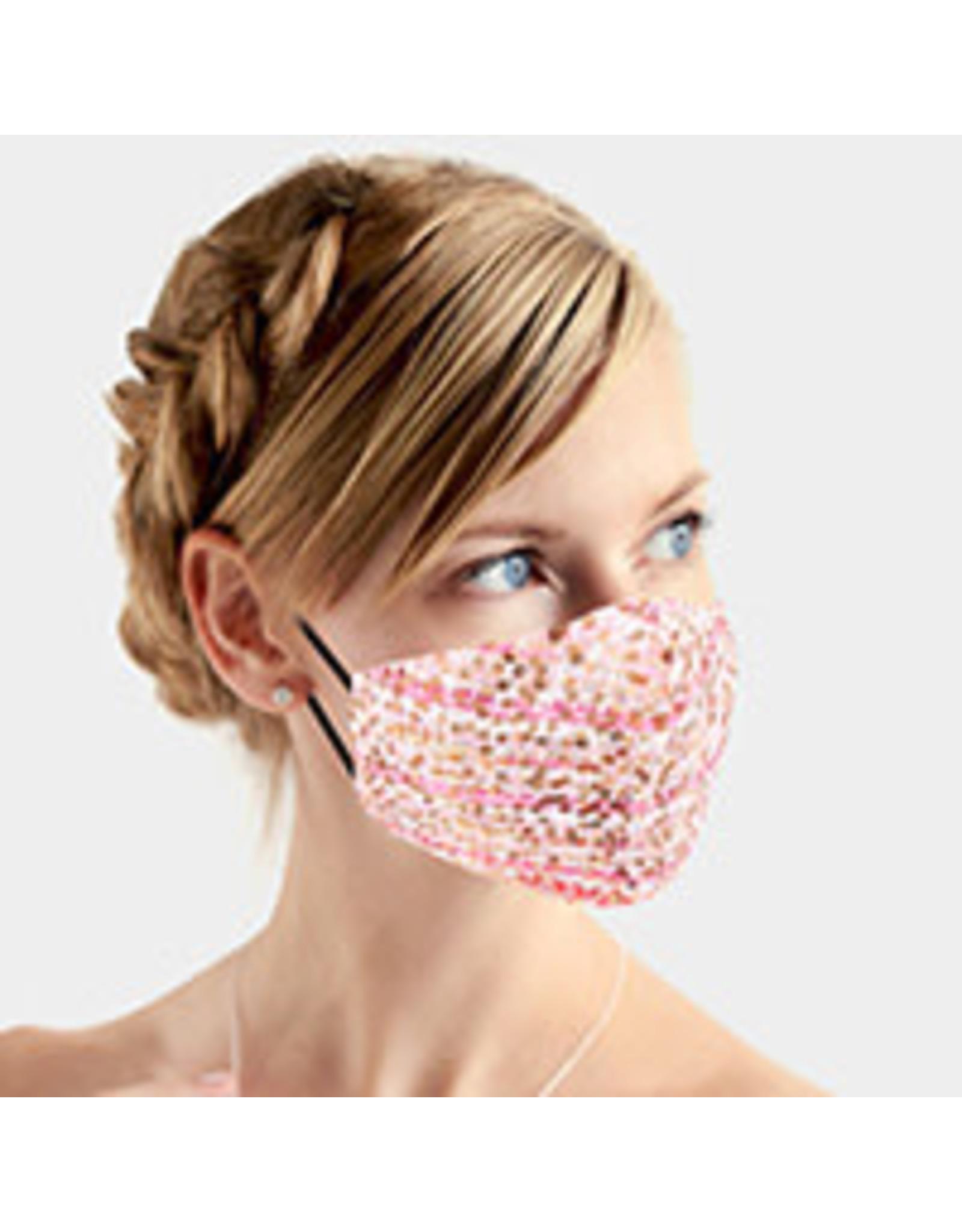 Blush Plaid Sequin Mask