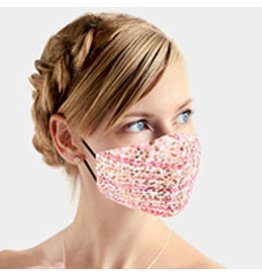 Blush Plaid Sequin Mask