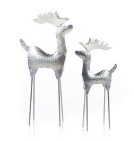 Hammered Silver Reindeer