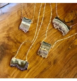 Amethyst  Slice Necklaces Gold