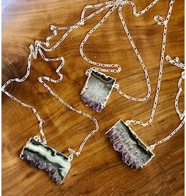 Amethyst Slice Necklace Silver