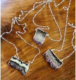 Amethyst Slice Necklace Silver