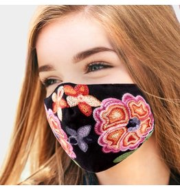 Mask with Embroidered Flowers