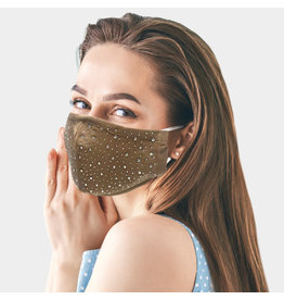 Tan Mask with Rhinestones