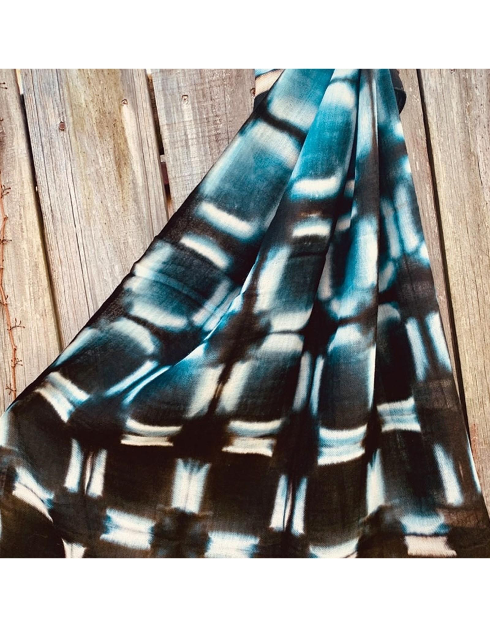 Shibori Hand Dyed Wool Shawl