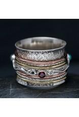 Garnet, Moonstone, Turquoise Scroll Spin Ring