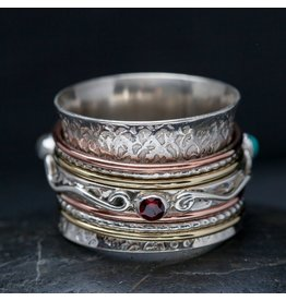 Garnet, Moonstone, Turquoise Scroll Spin Ring