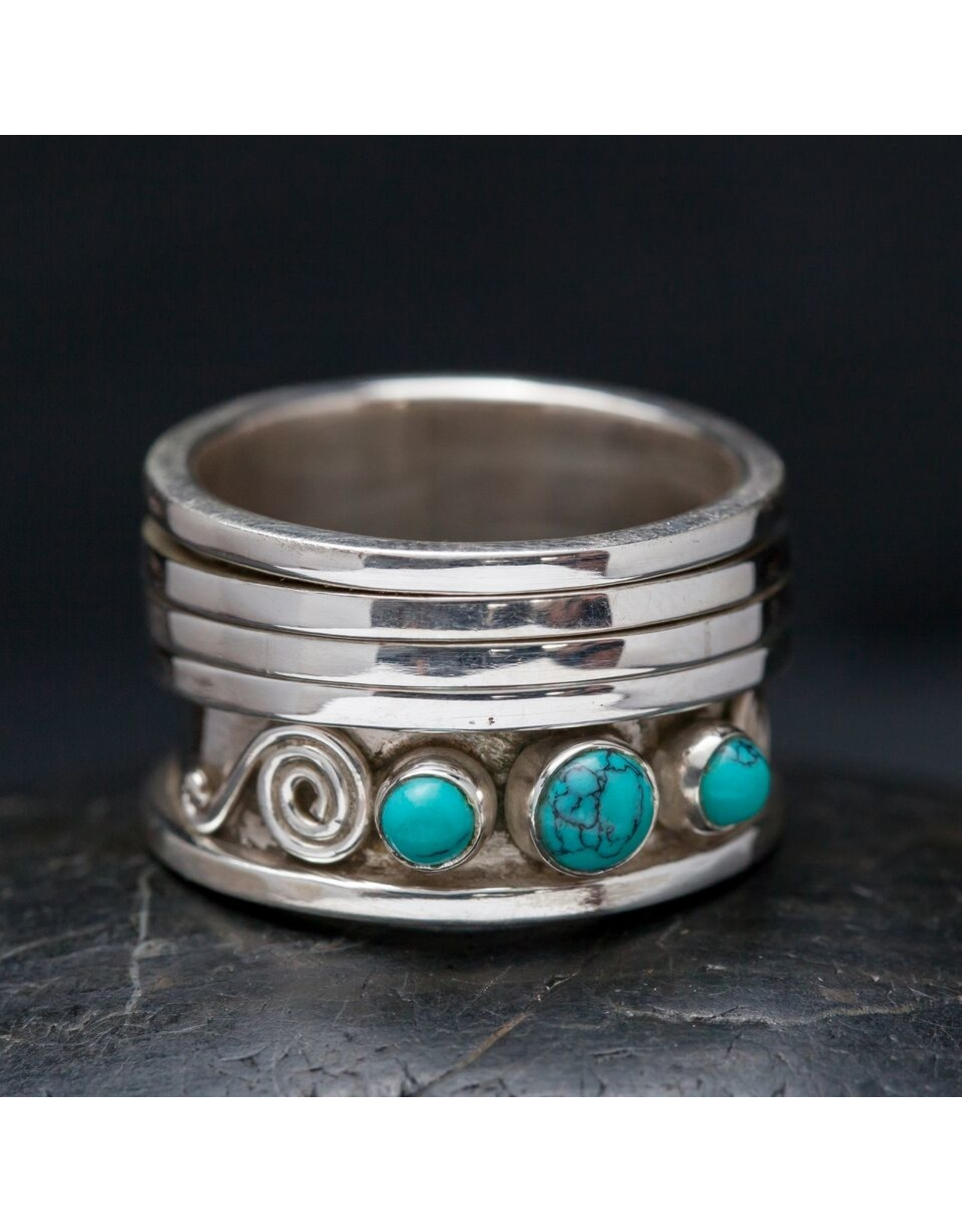 Turquoise Swirl Sterling Spin