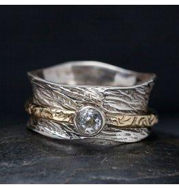 Handmade Sterling Sping Ring w/ Zircon