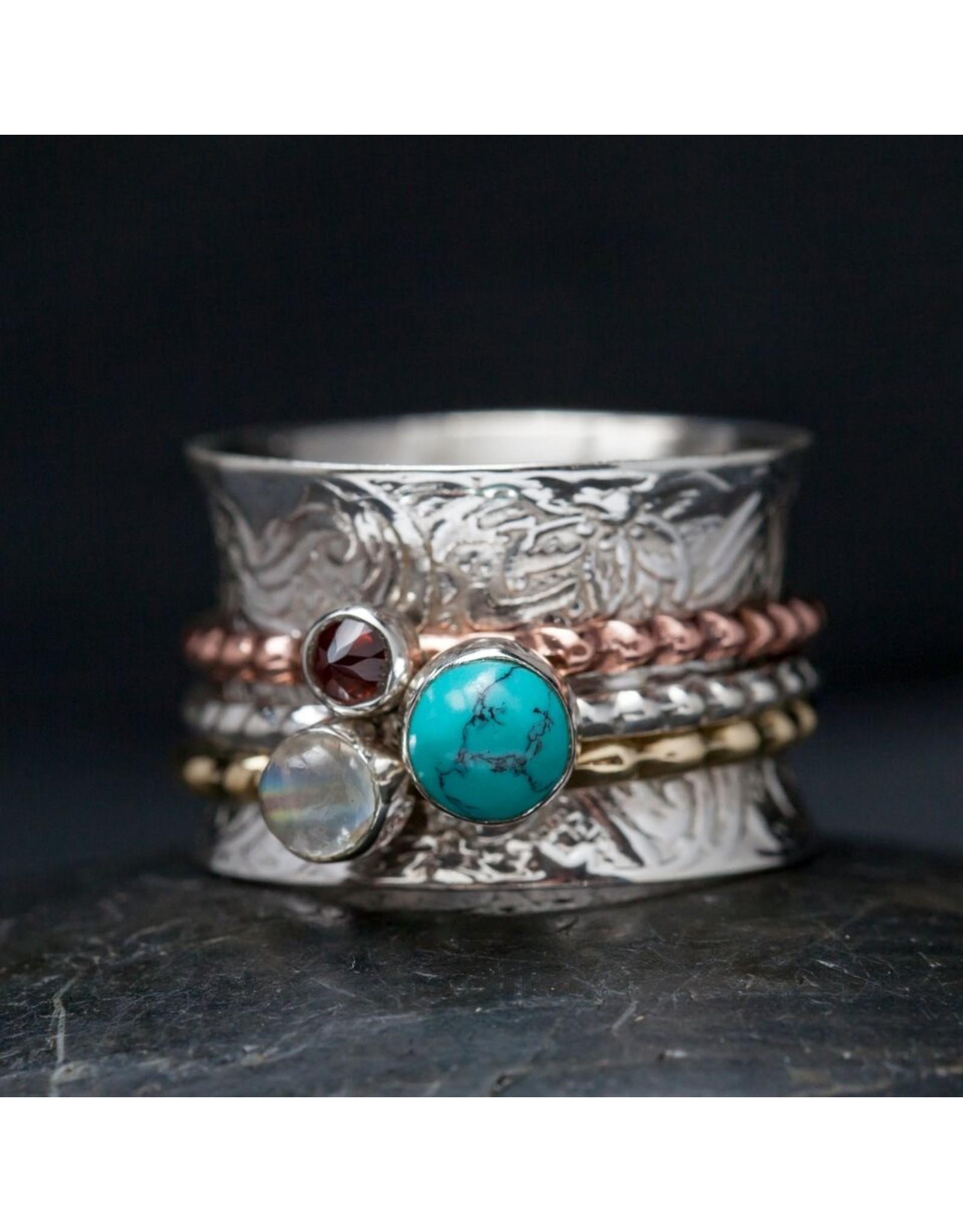Turquoise, Garnet & Moonstone Sterling Spin Ring