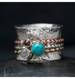 Turquoise, Garnet & Moonstone Sterling Spin Ring