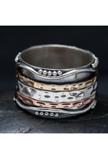 Handmade Tricolored Hammered Spin Ring