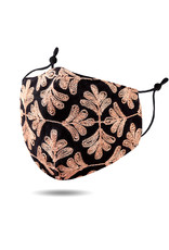 Apricot on Black Embroidered Mask