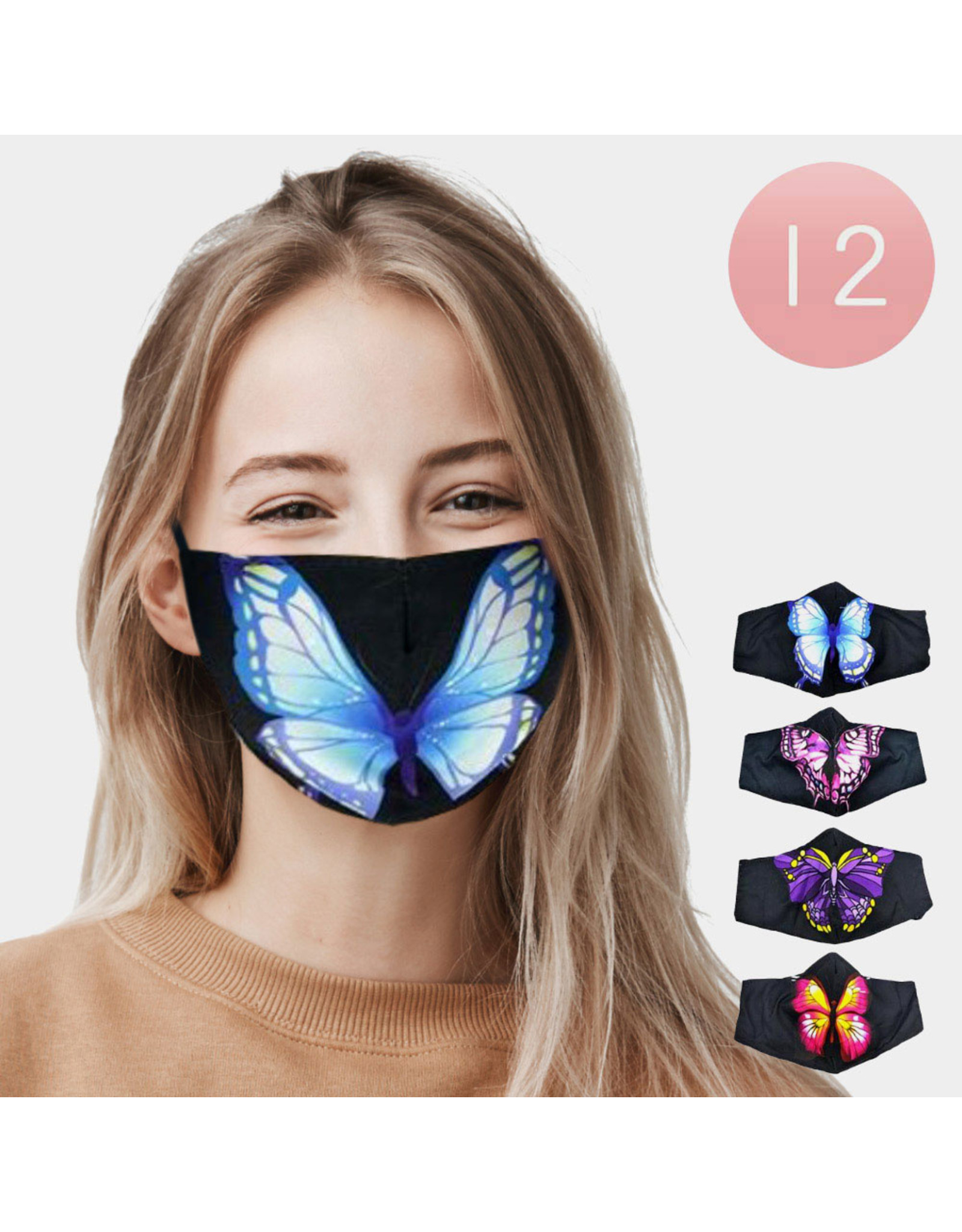 Butterfly Mask w/nose wire, adjustable ear loops & pocket for filter