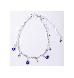 Silver Evil Eye Ankle Bracelet