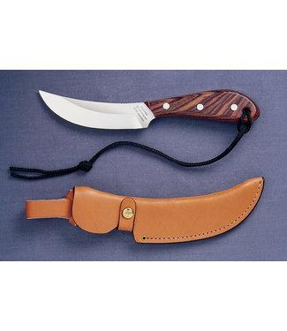"GROHMANN GROHMANN ROSEWOOD-HANDLE FIXED-BLADE STANDARD SKINNER KNIFE (4"" STAINLESS STEEL BLADE) W/ LEATHER SHEATH"