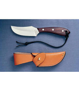 """GROHMANN GROHMANN ROSEWOOD-HANDLE SHORT FIXED-BLADE SKINNER KNIFE (3.5"""" STAINLESS STEEL BLADE) W/ LEATHER SHEATH"""