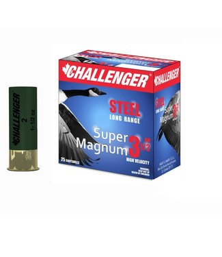 "CHALLENGER CHALLENGER 12-GAUGE - 3.5"" - #4 SHOT - 1.5 OZ - STEEL - SUPER MAGNUM (25 SHOTSHELLS)"