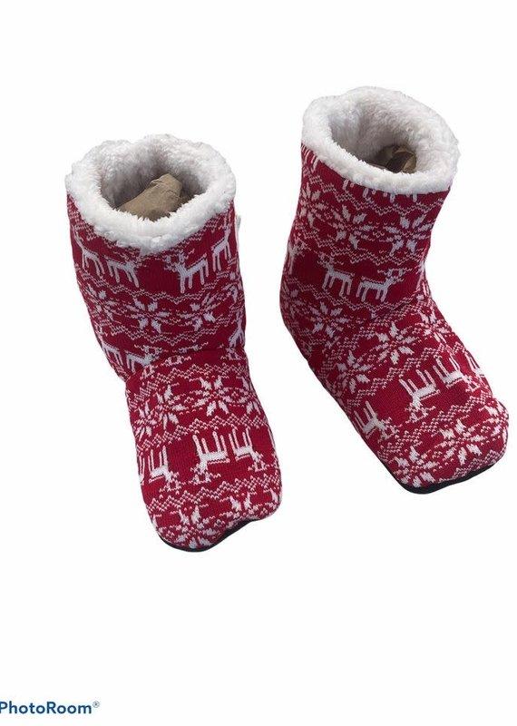 Pantoufle rouge réchauffe pieds