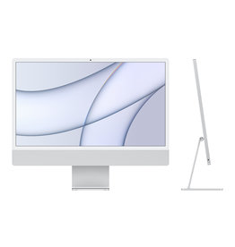 APPLE SILVER 24-inch iMac with Retina 4.5K display: Apple M1 chip with 8‑core CPU and 7‑core GPU, 5GB MEMORY, 256GB STORAGE, 2 THUNDERBOLT/USB 4 PORTS, MAGIC KEYBOARD