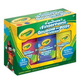Crayola 3 Washable Finger Paints Red/Blue/Yellow