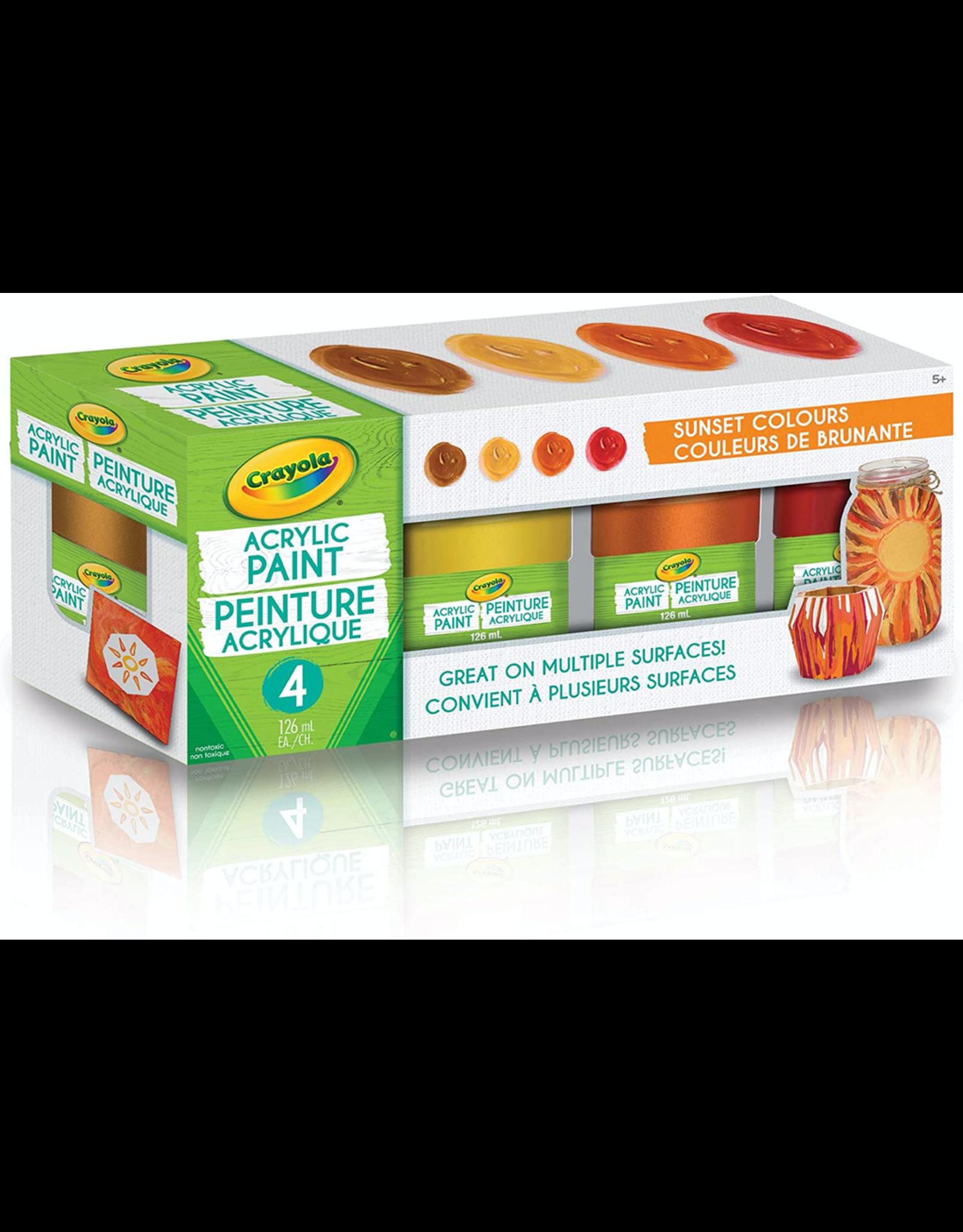Crayola Sunset Colours Acrylic Paint Jars 4ct 126ml