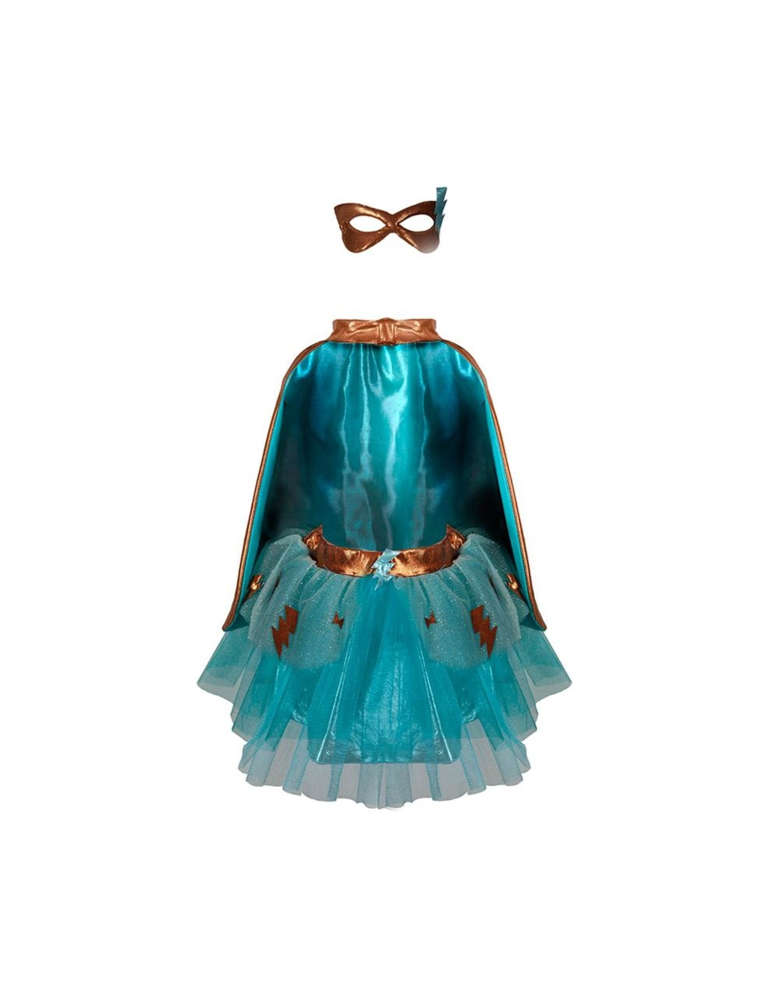 Great Pretenders Super-Duper Tutu/Cape/Mask Turquoise/Copper  Size 4-6