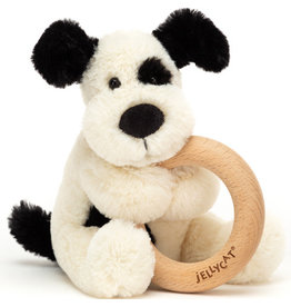 Jellycat Bashful Black And Cream Puppy Wooden Ring Rattle