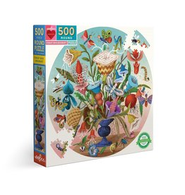 eeBoo Crazy Bug Bouquet 500 Pc Round Puzzle